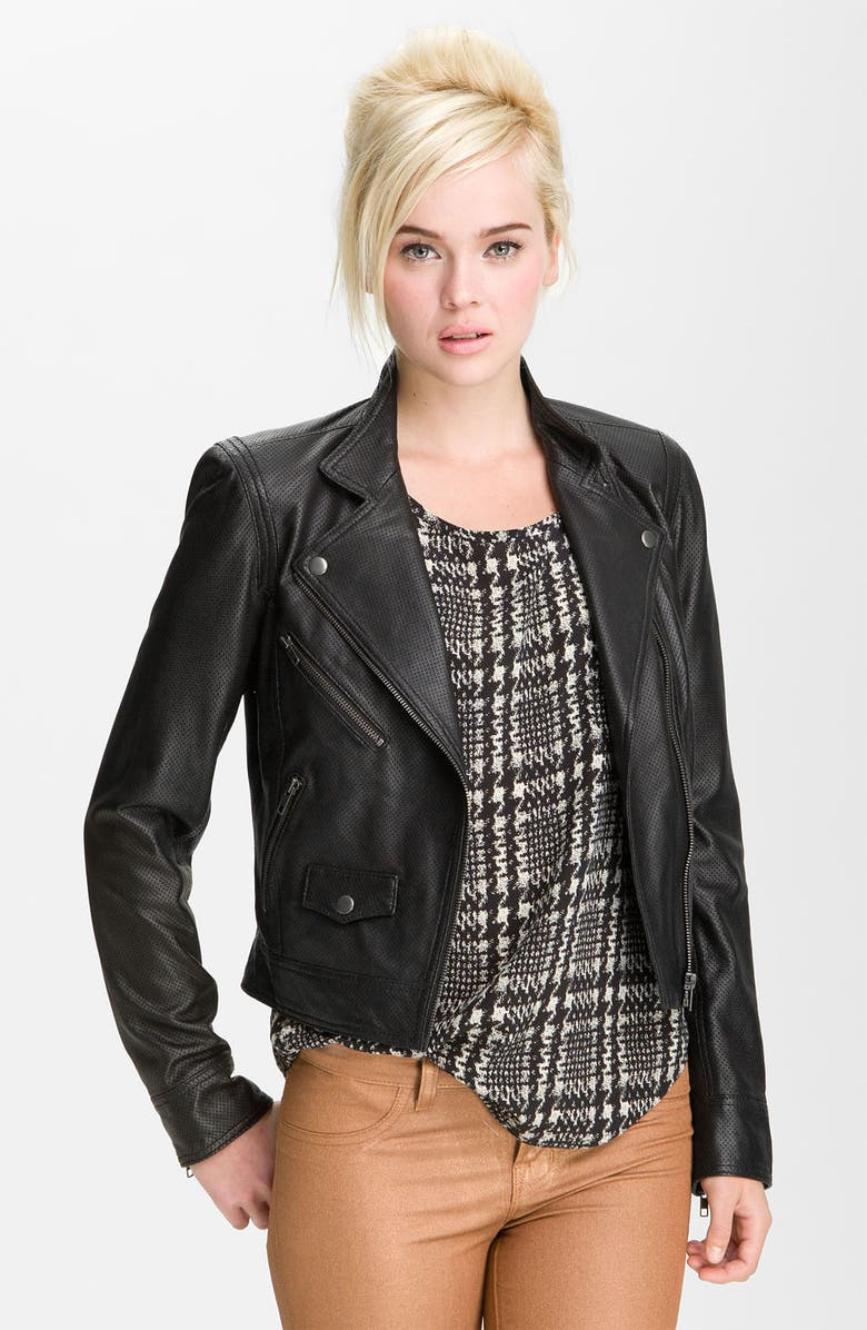 TRUTH & PRIDE Truth and Pride Perforated Leather Biker Jacket, Main, color, 001