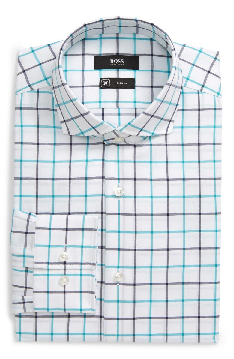 BOSS Slim Fit Windowpane Plaid Dress Shirt, Main, color, LIGHT/ PASTEL BLUE