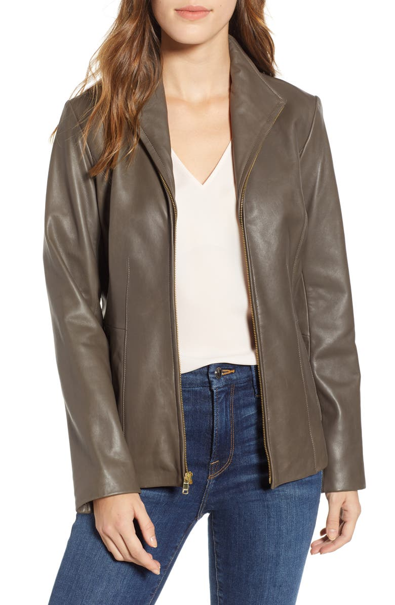 COLE HAAN SIGNATURE Cole Haan Lambskin Leather Jacket, Main, color, STONE