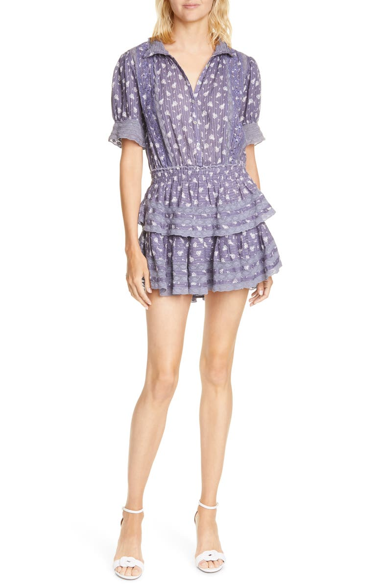 LOVESHACKFANCY Alfie Floral Ruffle Minidress, Main, color, BLUE JEAN