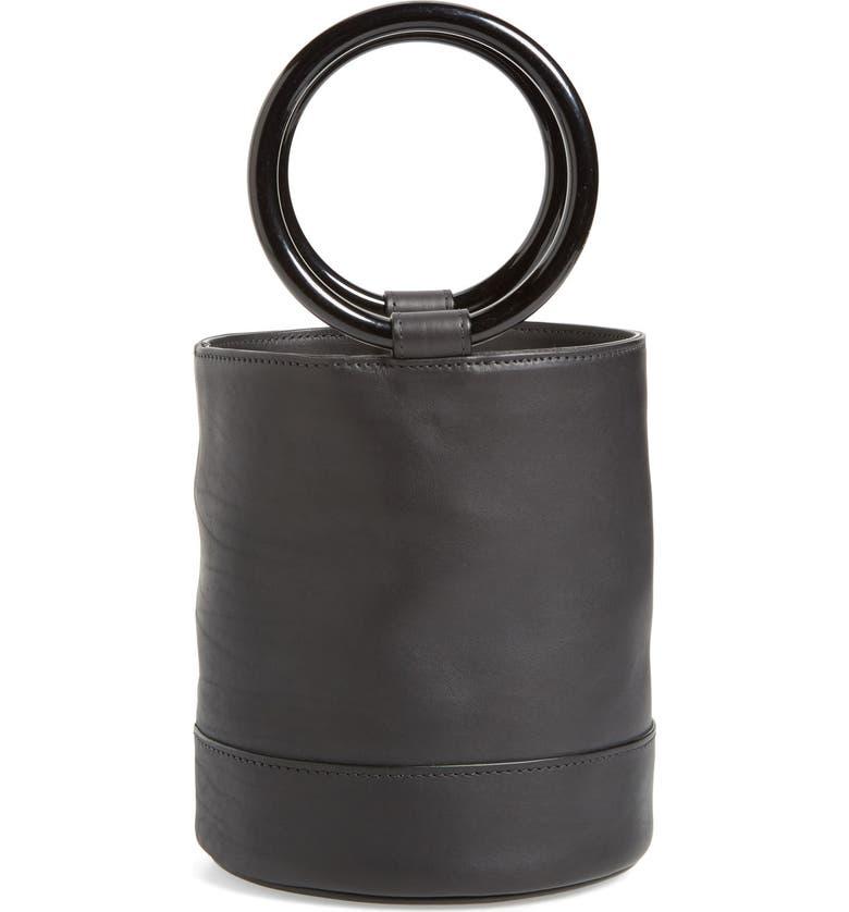 SIMON MILLER Bonsai 20 Crossbody Bucket Bag, Main, color, BLACK CALF LEATHER