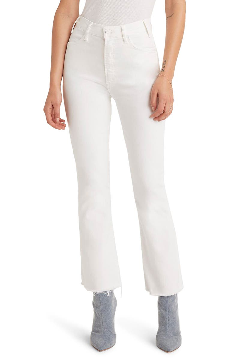 MOTHER The Hustler High Waist Fray Hem Ankle Bootcut Jeans, Main, color, 100