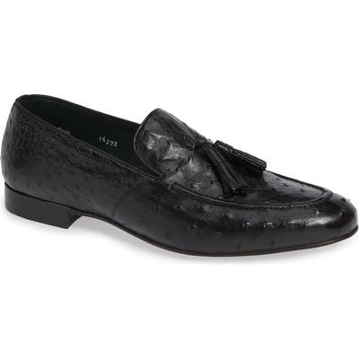 Mezlan Conte Tassel Ostrich Leather Loafer- Black