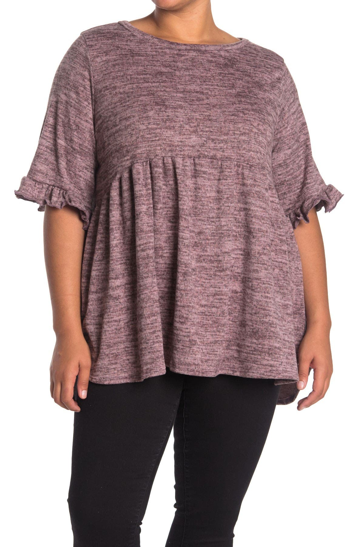 Image of Forgotten Grace Hacci Elbow Sleeve Babydoll Tunic Top