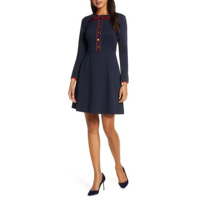 Petite 1901 Bow Neck Long Sleeve A-Line Dress, Blue