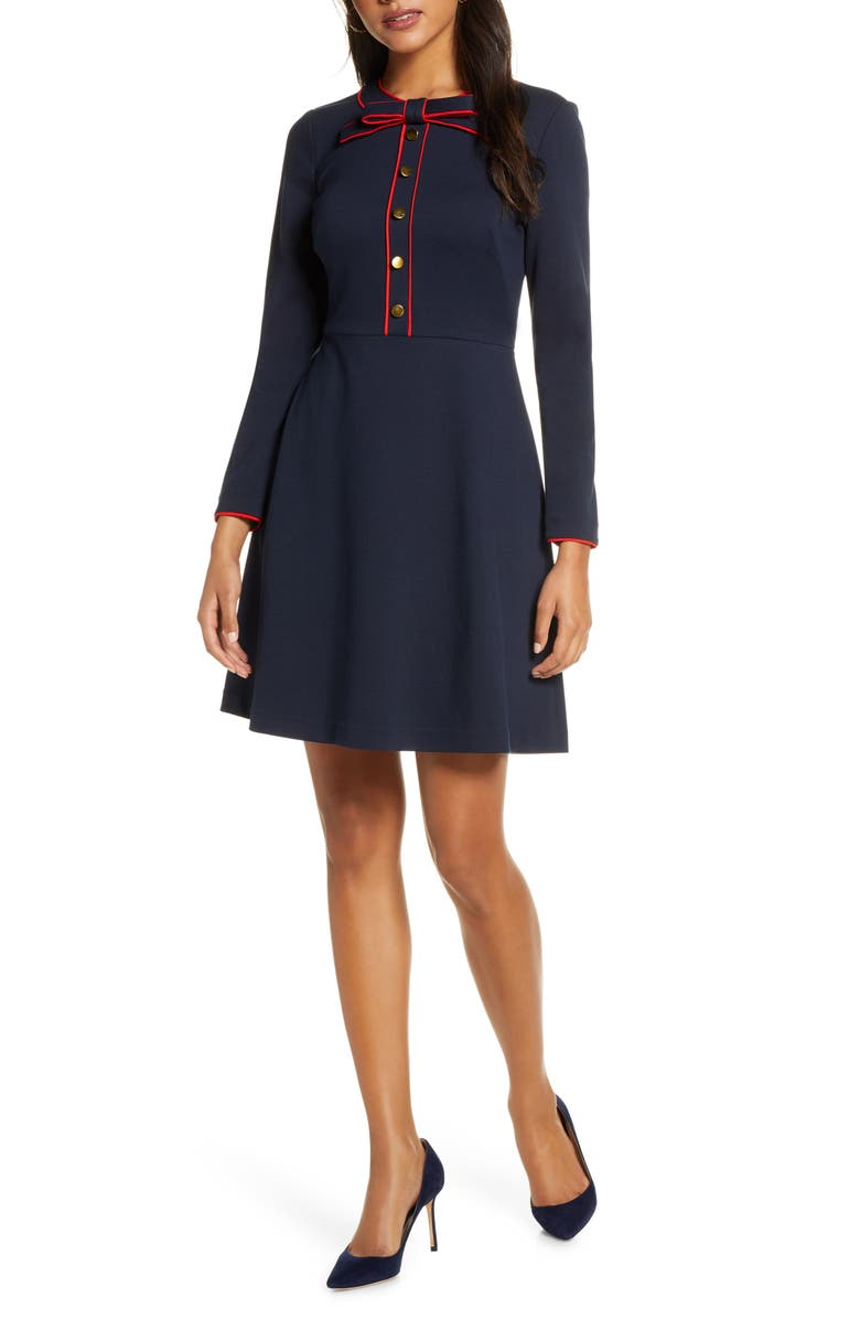 1901 Bow Neck Long Sleeve A-Line Dress, Main, color, NAVY