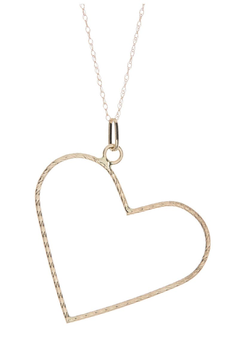 CANDELA JEWELRY 10K Yellow Gold Textured Open Heart Pendant Necklace, Main, color, GOLD