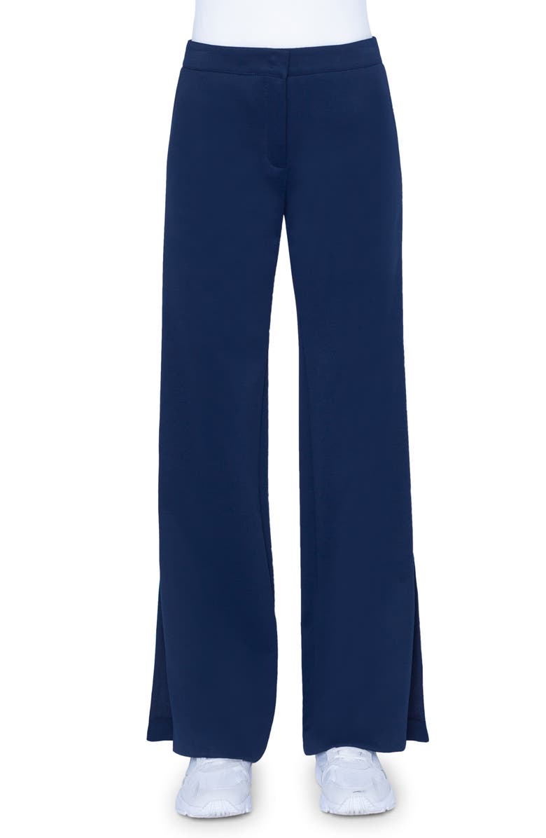 AKRIS PUNTO Marla Rainbow Tape Jersey Pants, Main, color, DARK DENIM