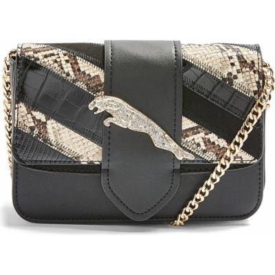 Topshop Leaping Leopard Crossbody Bag - Black