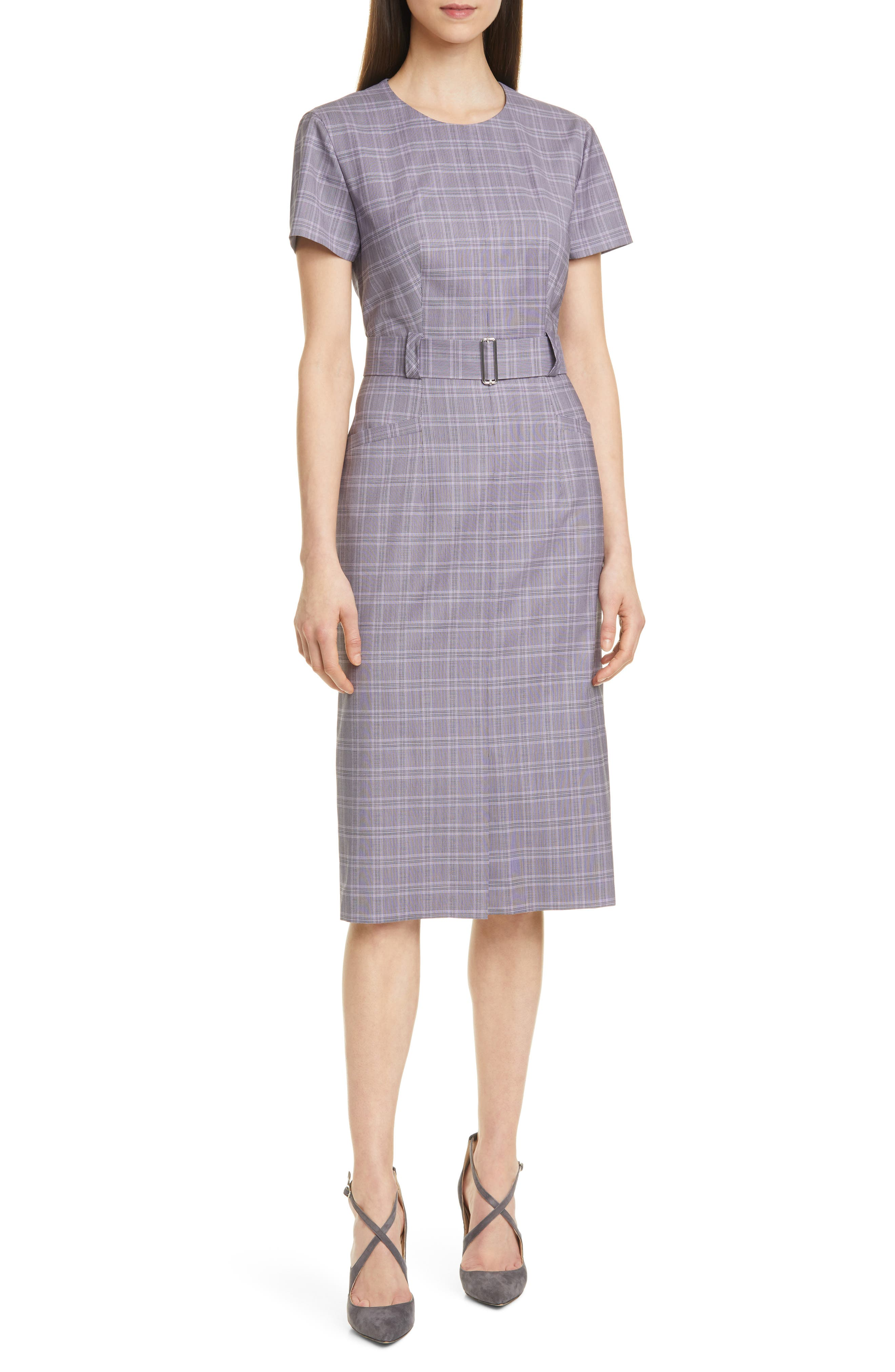 BOSS Danetty Plaid Belted Sheath Dress (Regular & Petite)   Nordstrom