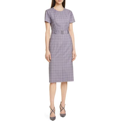 Petite Boss Danetty Plaid Belted Sheath Dress, Purple