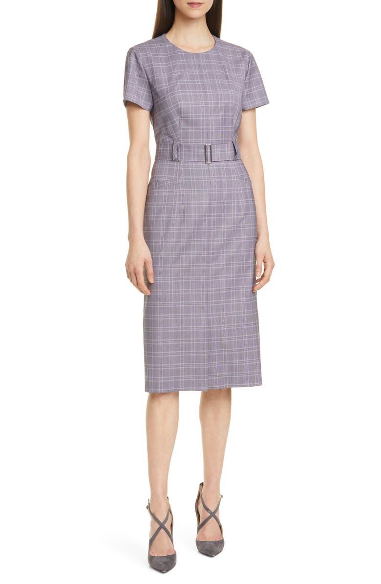 BOSS Danetty Plaid Belted Sheath Dress, Main, color, LILAC FANTASY
