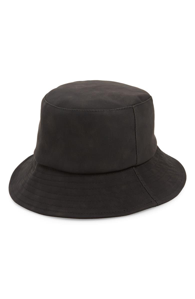 BP. Faux Leather Bucket Hat, Main, color, BLACK