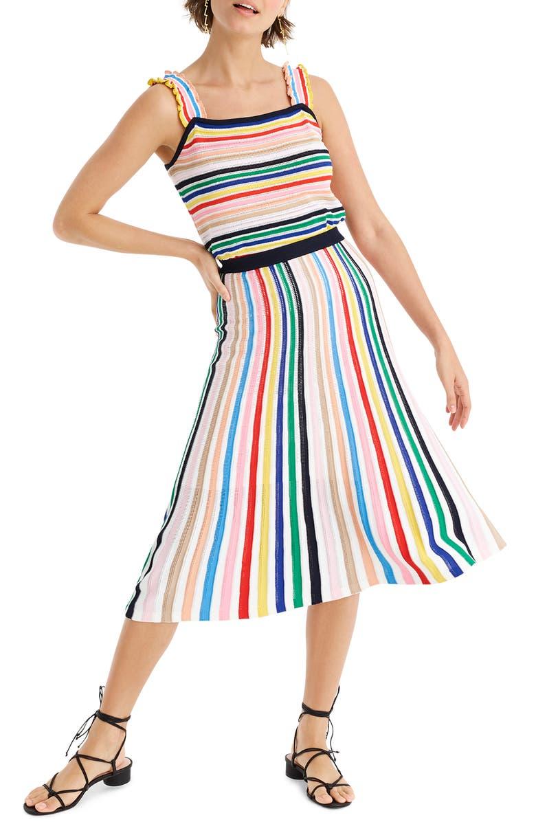 J.CREW Rainbow Stripe Pull-On Flare Skirt, Main, color, 400