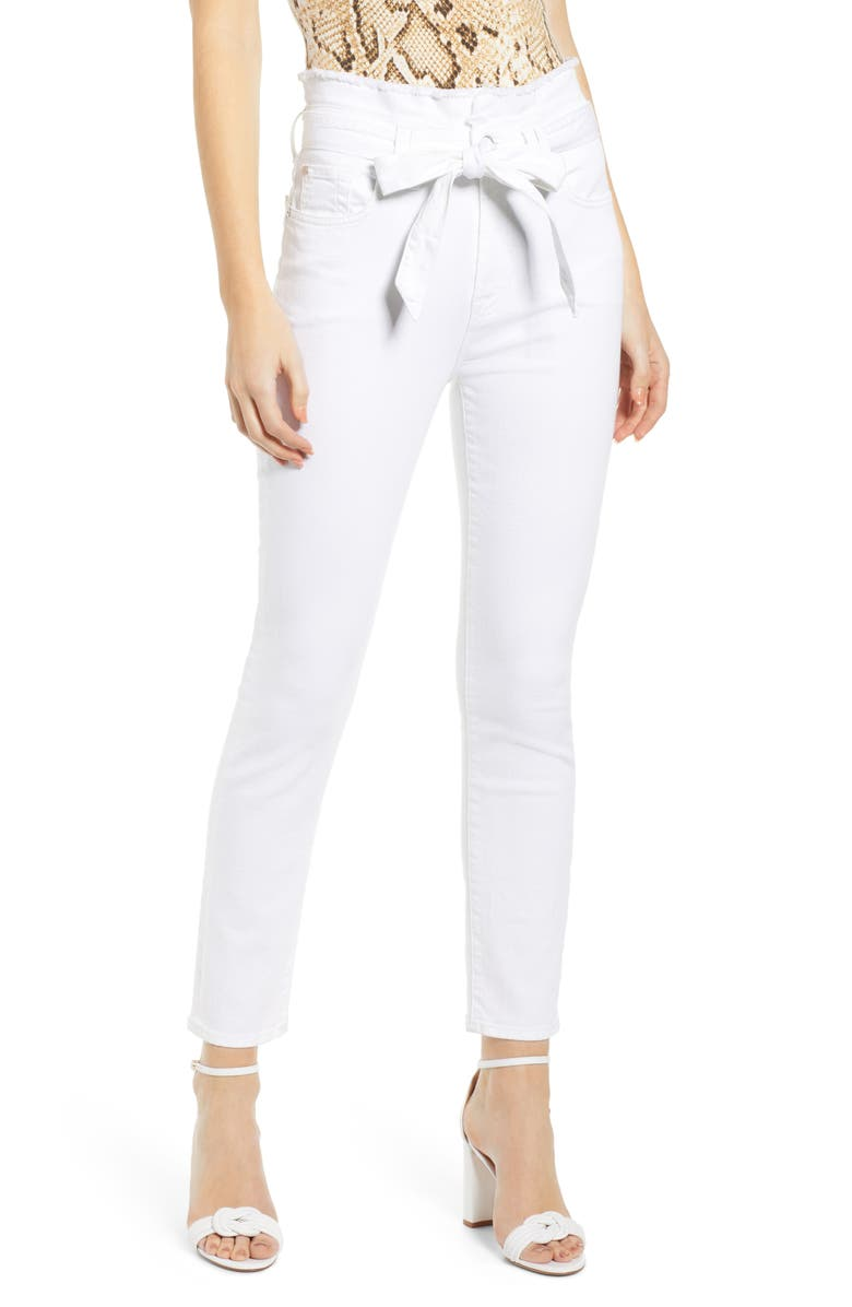 7 FOR ALL MANKIND<SUP>®</SUP> Paperbag Waist Jeans, Main, color, WHITE RUNWAY DENIM