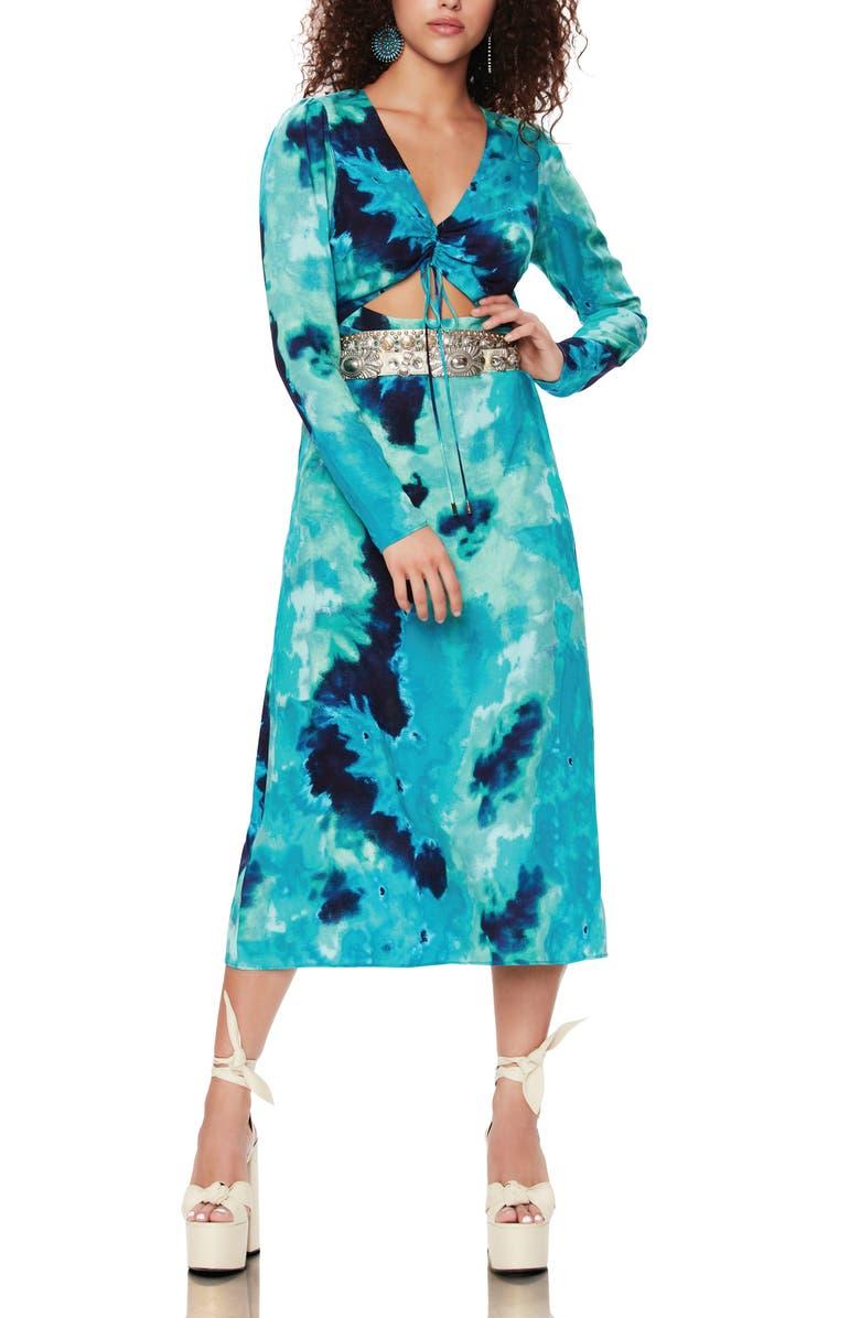 AFRM Carlo Cinch Front Dress, Main, color, GREEN TIE DYE