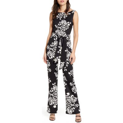 Sentimental Ny Floral Sleeveless Jumpsuit, Black