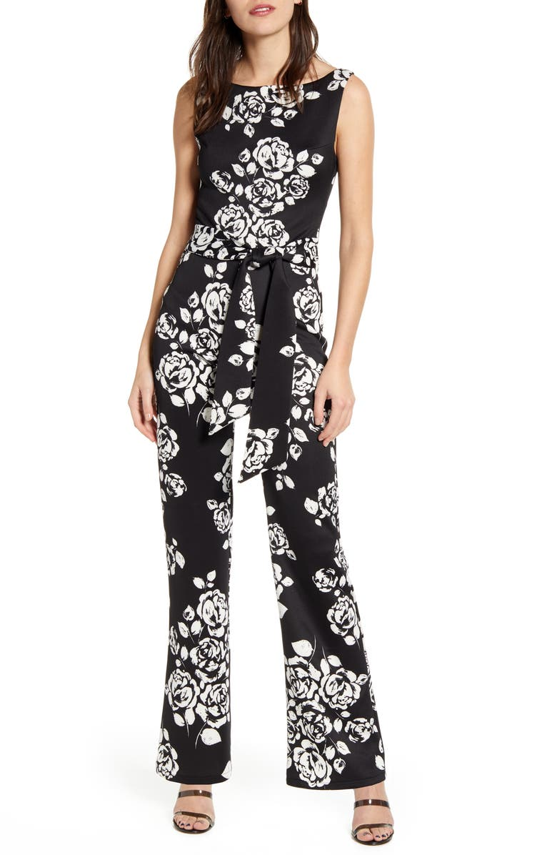 SENTIMENTAL NY Floral Sleeveless Jumpsuit, Main, color, BLACK/ WHITE