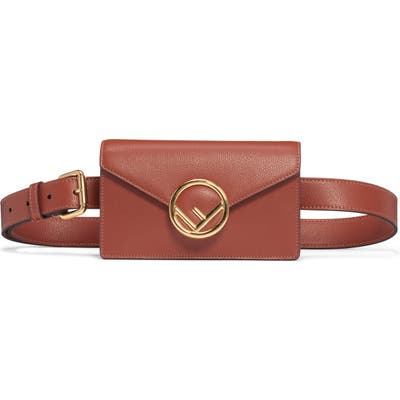 Fendi Logo Leather Belt Bag - Brown