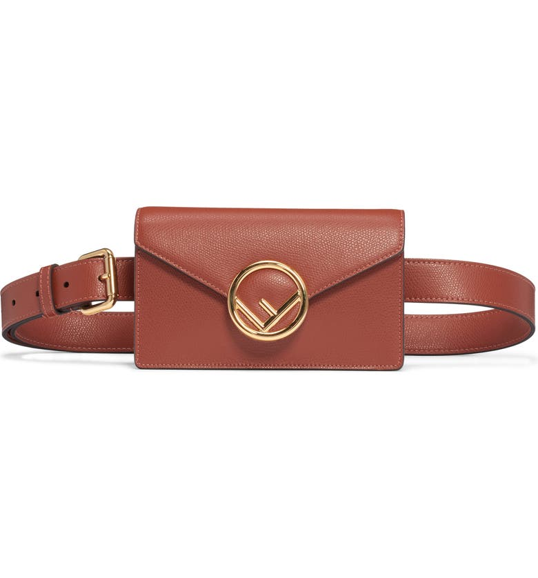 FENDI Logo Leather Belt Bag, Main, color, RUST/ ORO SOFT