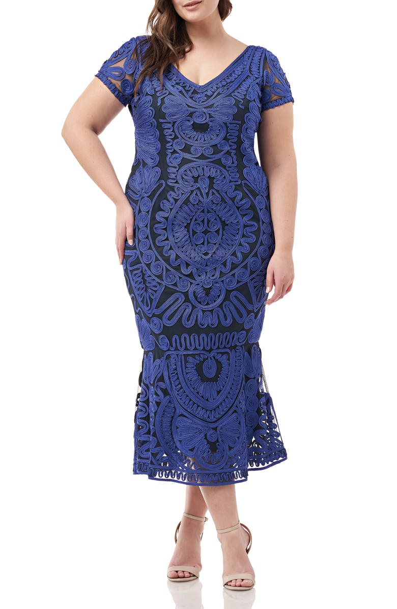 JS COLLECTIONS Soutache Trumpet Dress, Main, color, ROYAL NAVY