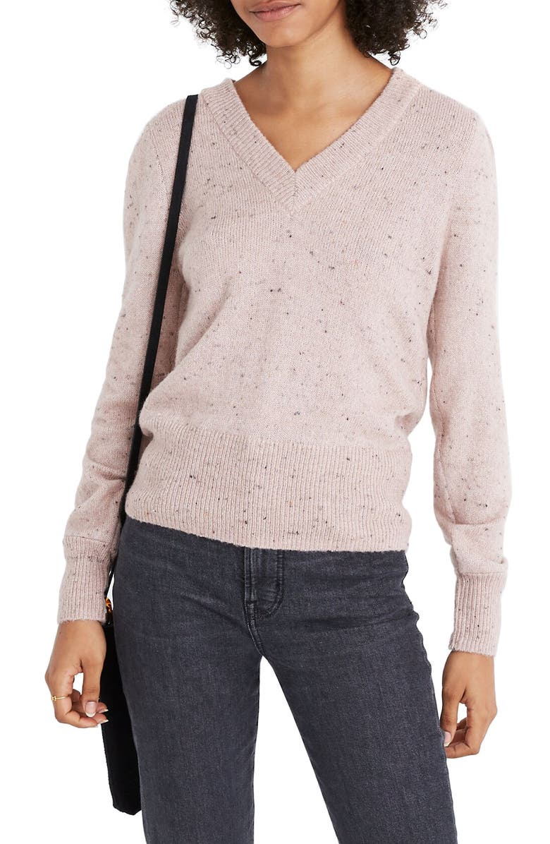 MADEWELL Donegal Westgate V-Neck Sweater, Main, color, DONEGAL BLUSH
