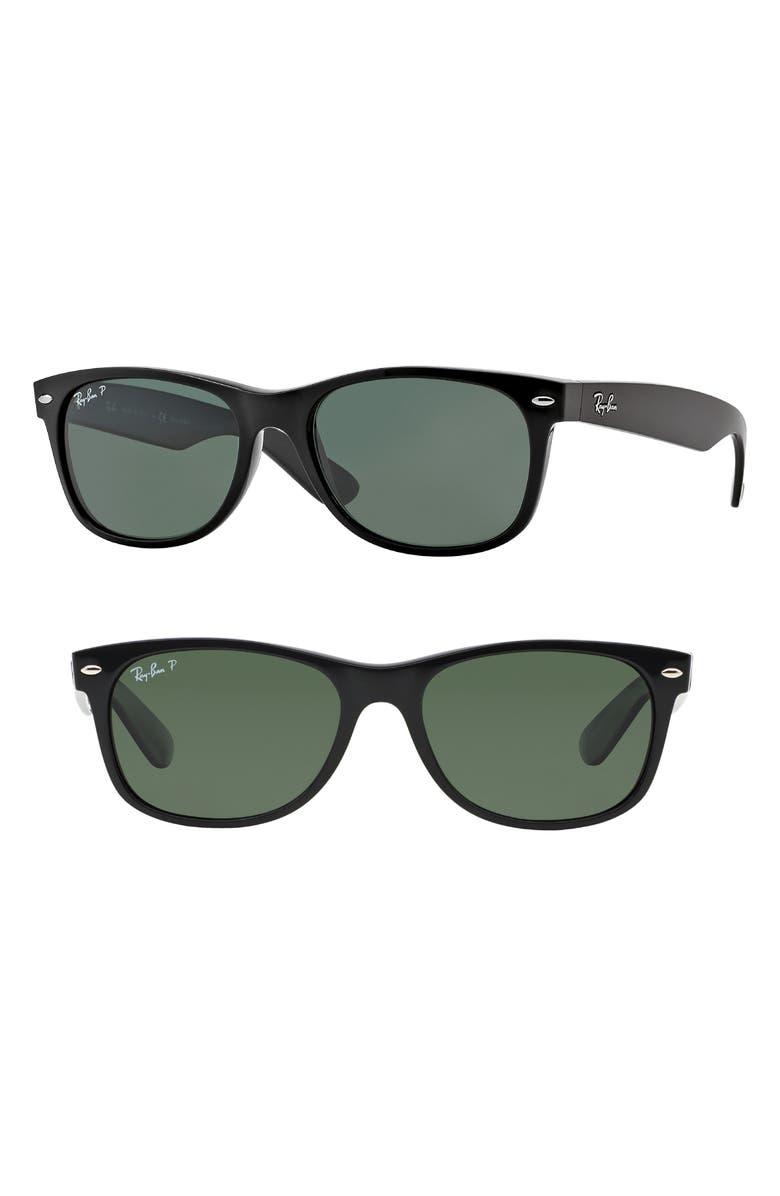 RAY-BAN Small New Wayfarer 52mm Polarized Sunglasses, Main, color, 003