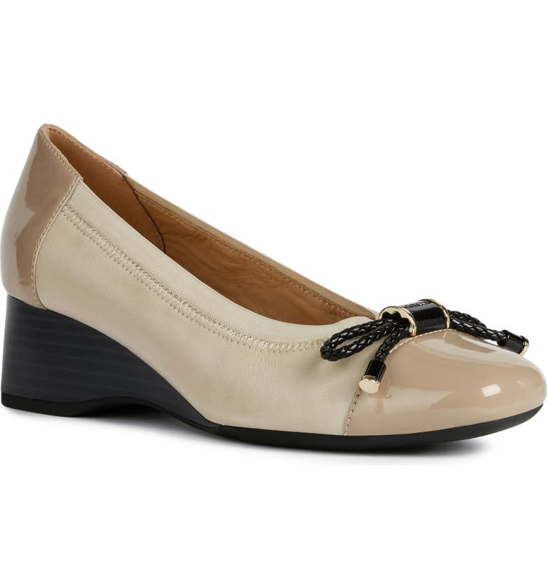 GEOX Audalya Wedge Pump, Main, color, LIGHT TAUPE LEATHER
