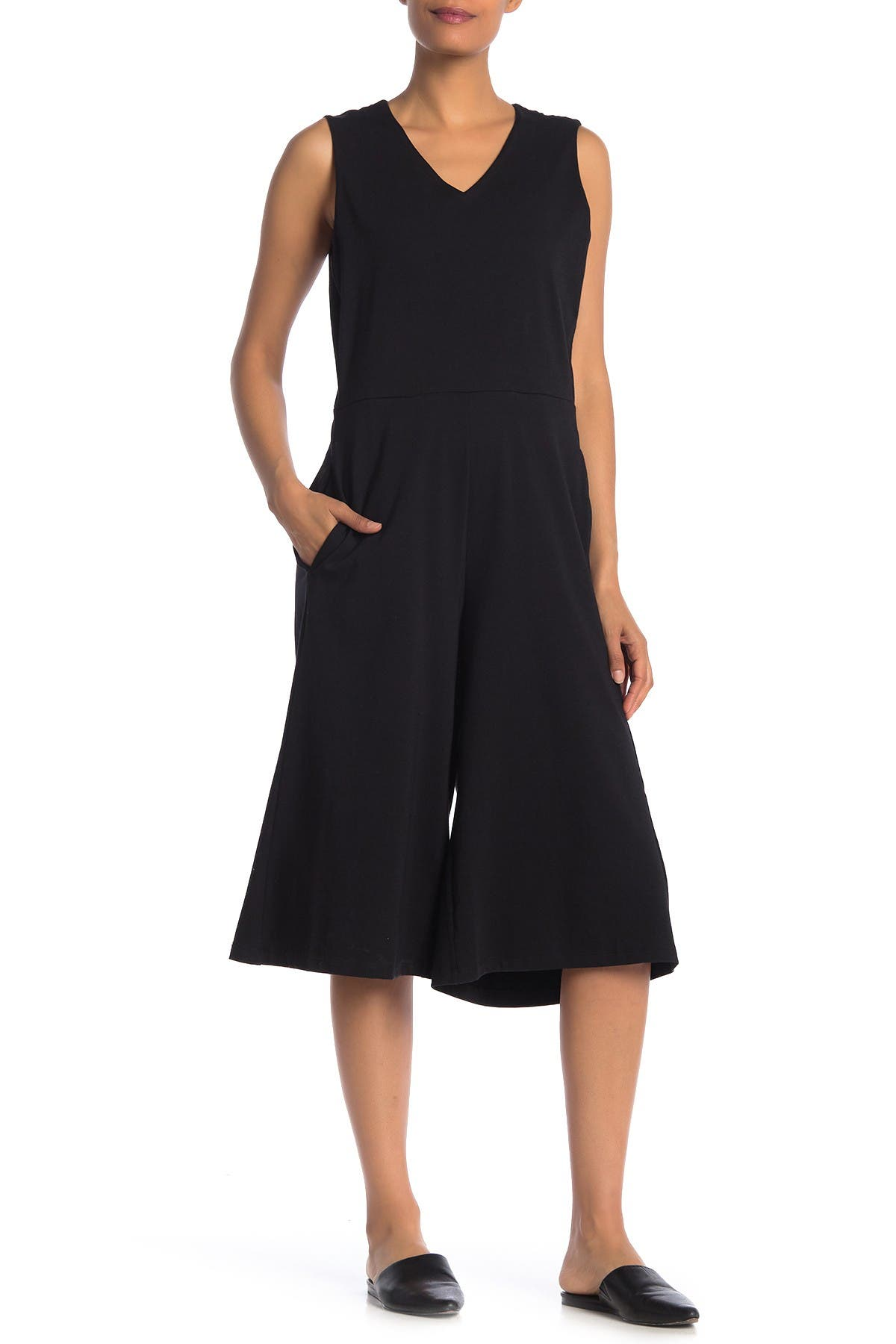 Image of Eileen Fisher Sleeveless Stretch Culotte Jumpsuit