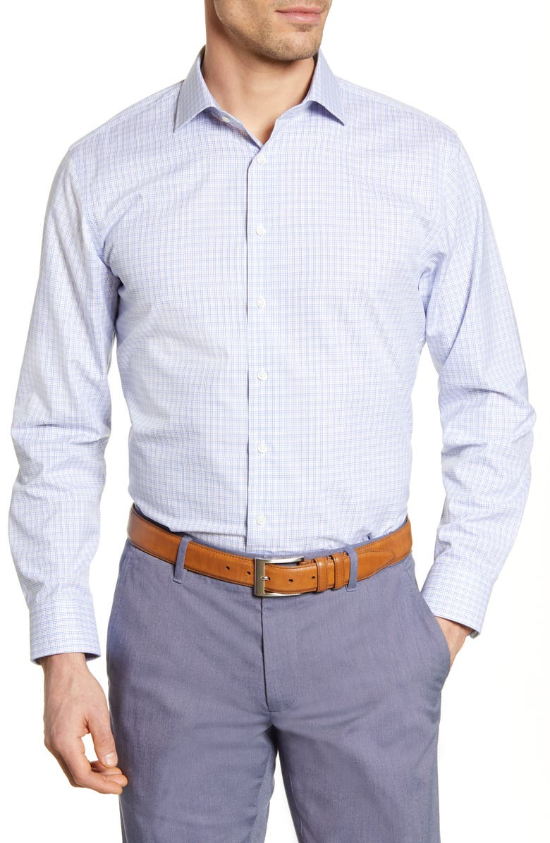 NORDSTROM MEN'S SHOP Trim Fit Non-Iron Check Dress Shirt, Main, color, 050