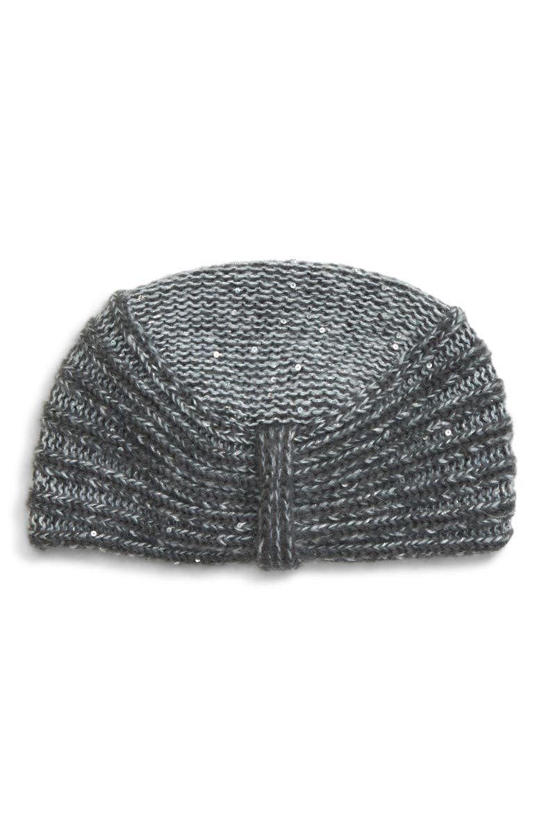 MAX MARA Simone Sequin Embellished Knit Hat, Main, color, MEDIUM GREY