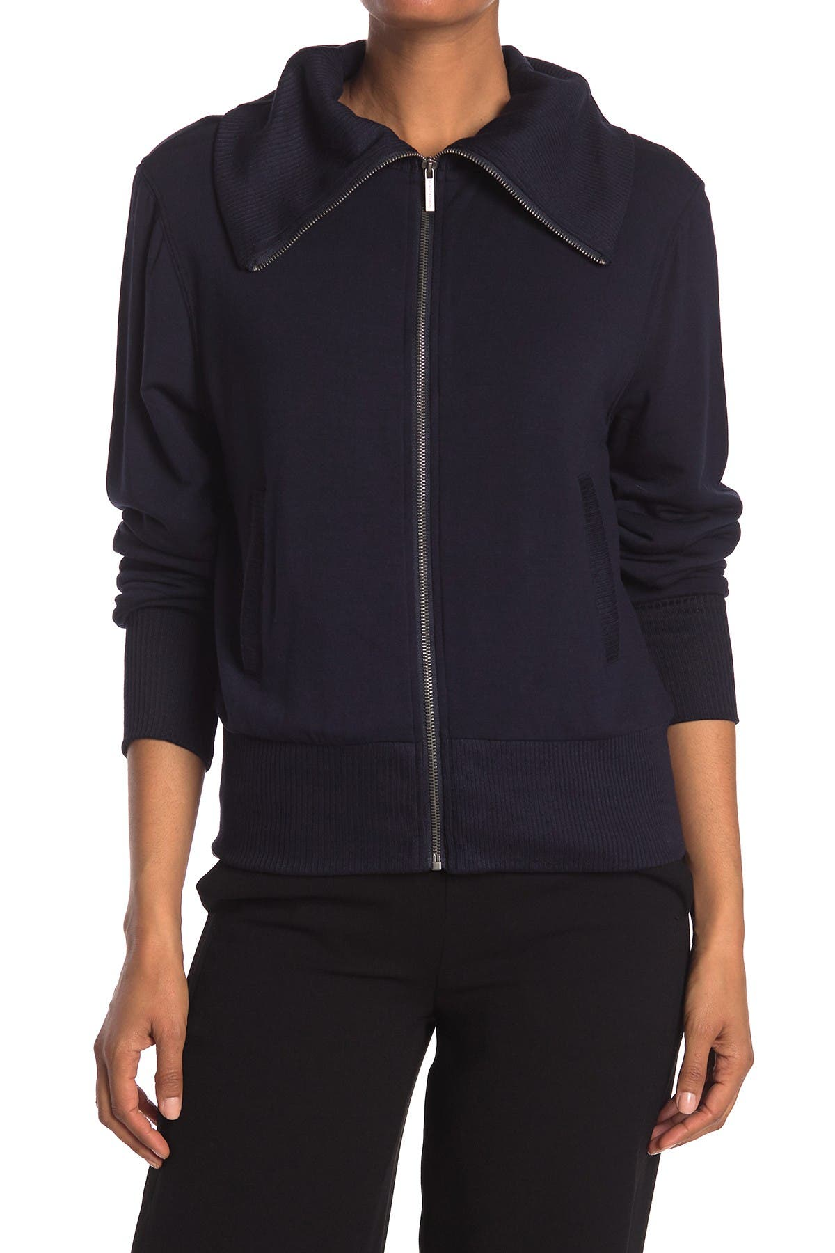 Image of M Magaschoni Mock Neck French Terry Jacket