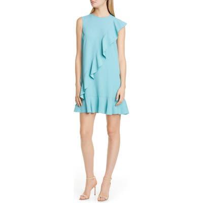 Red Valentino Ruffle Crepe Shift Dress, 0 6IT - Blue