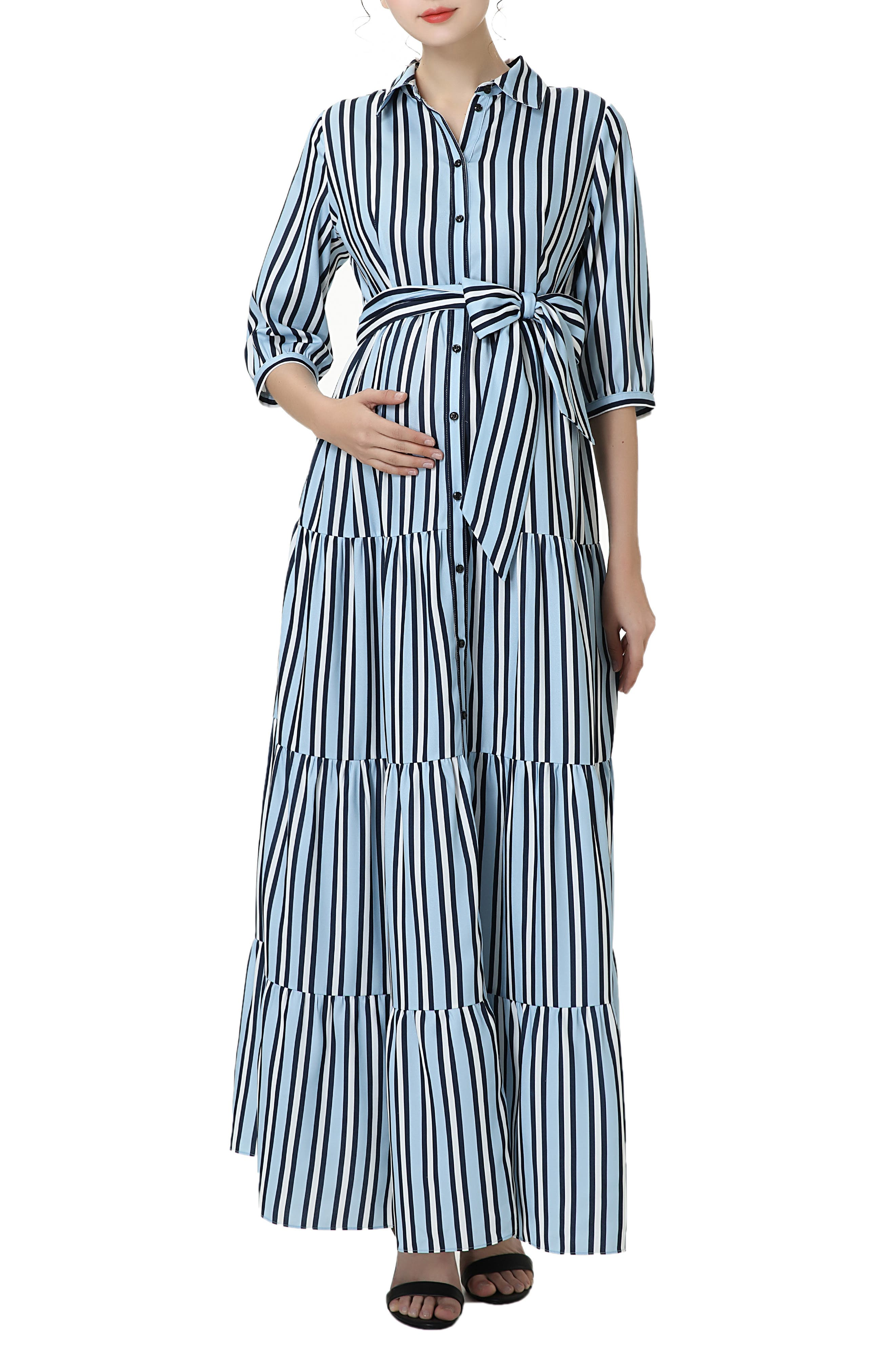 Vintage Maternity Dresses and Clothes Womens Kimi And Kai Ruby Stripe Belted Maternitynursing Maxi Dress $118.00 AT vintagedancer.com