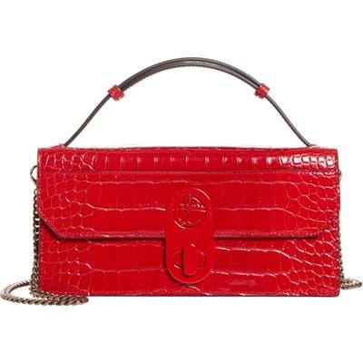 Christian Louboutin Elisa Croc Embossed Leather Baguette Bag - Red