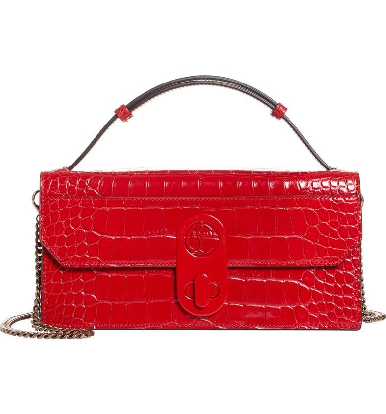 CHRISTIAN LOUBOUTIN Elisa Croc Embossed Leather Baguette Bag, Main, color, LOUBI/ LOUBI