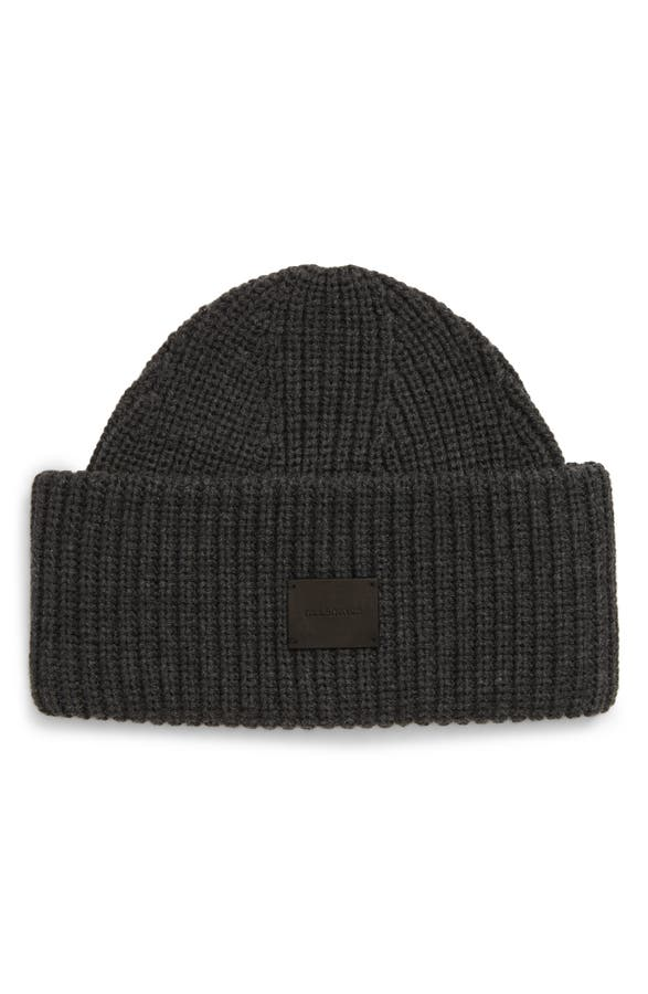 Allsaints Half Cardigan Stitch Beanie In Charcoal