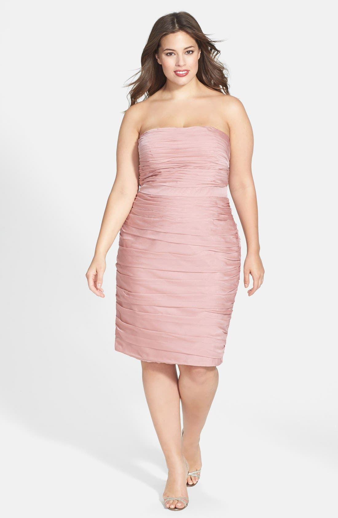 ,                             Ruched Strapless Cationic Chiffon Dress,                             Alternate thumbnail 69, color,                             697