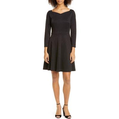 Kate Spade New York Sparkle Fit & Flare Ponte Dress, Black