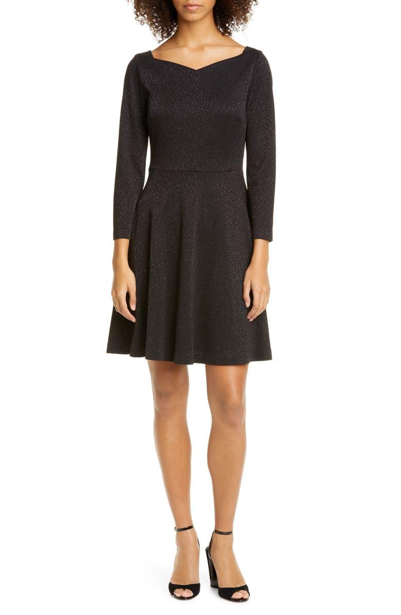 KATE SPADE NEW YORK sparkle fit & flare ponte dress, Main, color, 001