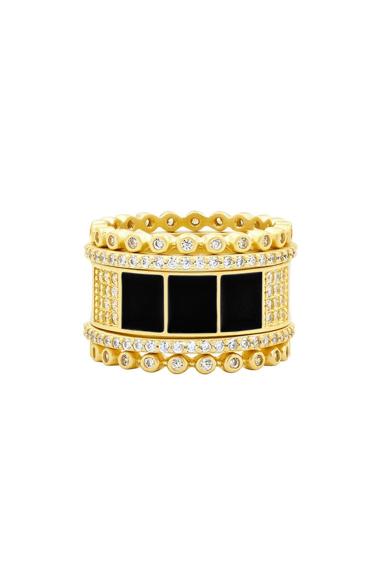 FREIDA ROTHMAN Harmony Set of 5 Stackable Rings, Main, color, GOLD/ BLACK