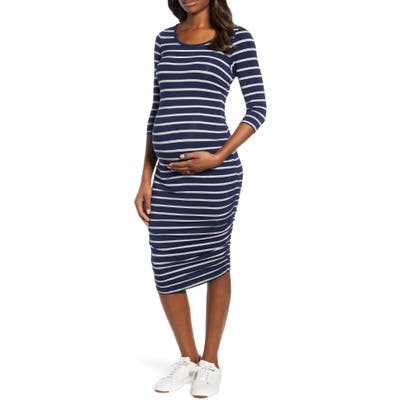 Angel Maternity Side Ruched Maternity Dress, Blue