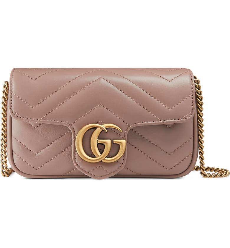 GUCCI Supermini Matelassé Leather Shoulder Bag, Main, color, 636