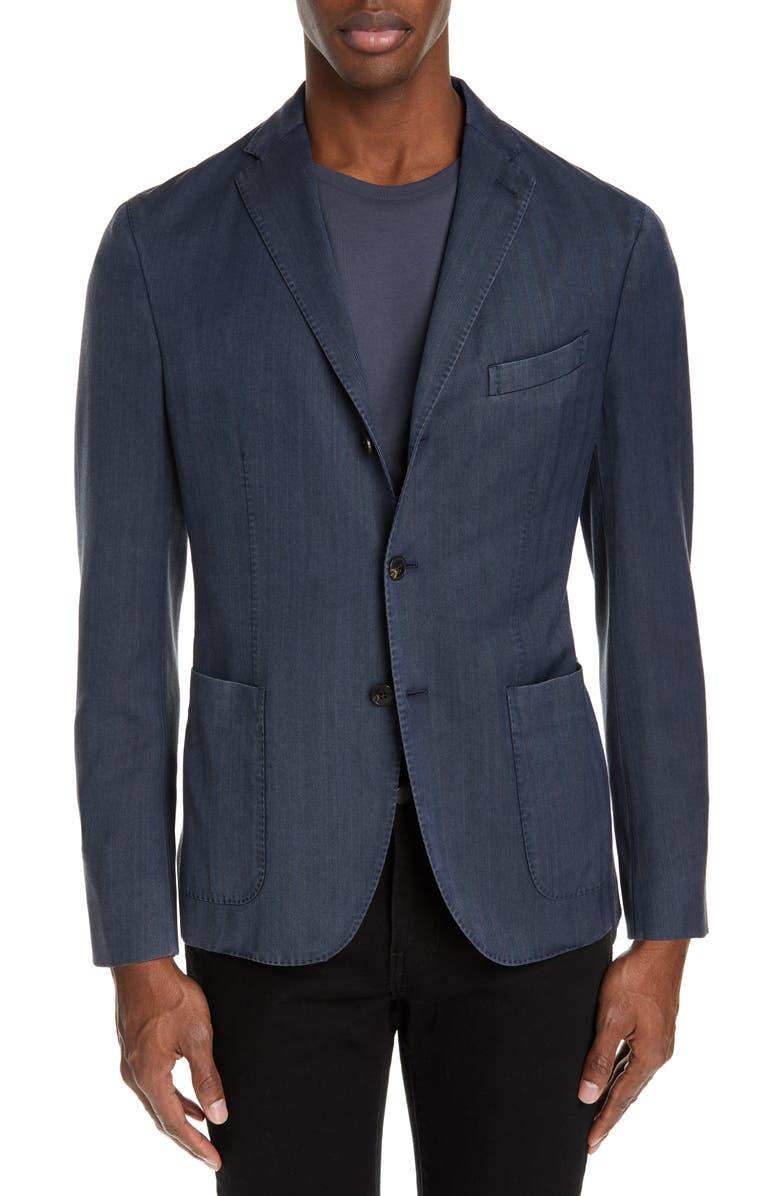 BOGLIOLI Travel K Slim Fit Wool Blazer, Main, color, NAVY