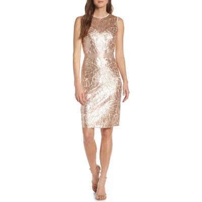 Tadashi Shoji Sugg Sleeveless Sequin Sheath Dress, Beige