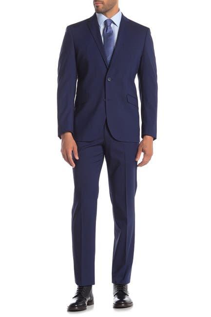 Image of Kenneth Cole Reaction Blue Check Techni-Cole Slim Fit Suit