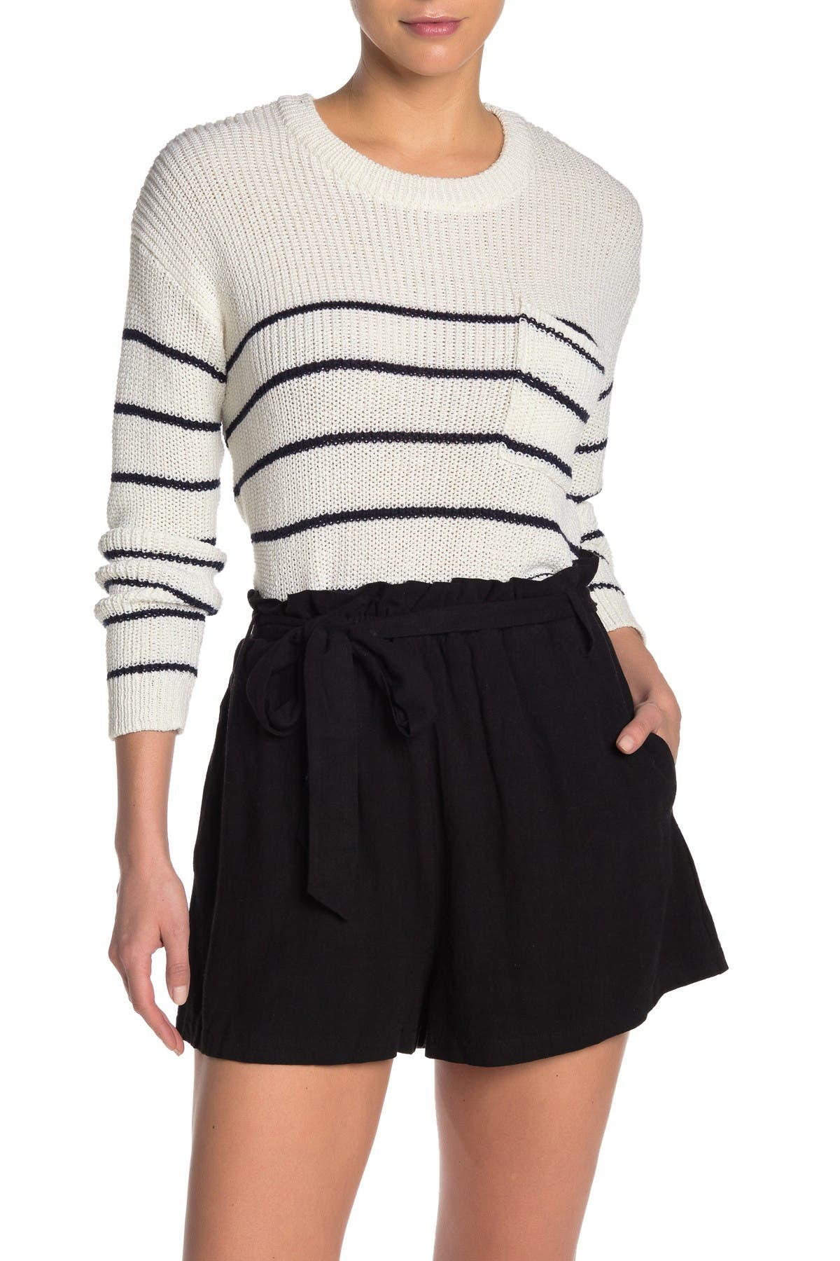Image of Lush Stripe Crew Neck Knit Sweater