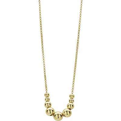 Lagos Caviar Gold Graduated Bead Chain Necklace