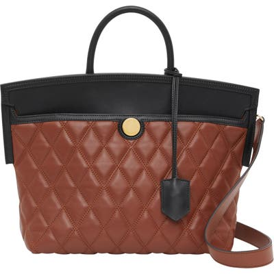 Burberry Small Society Quilted Leather Top Handle Tote - Beige