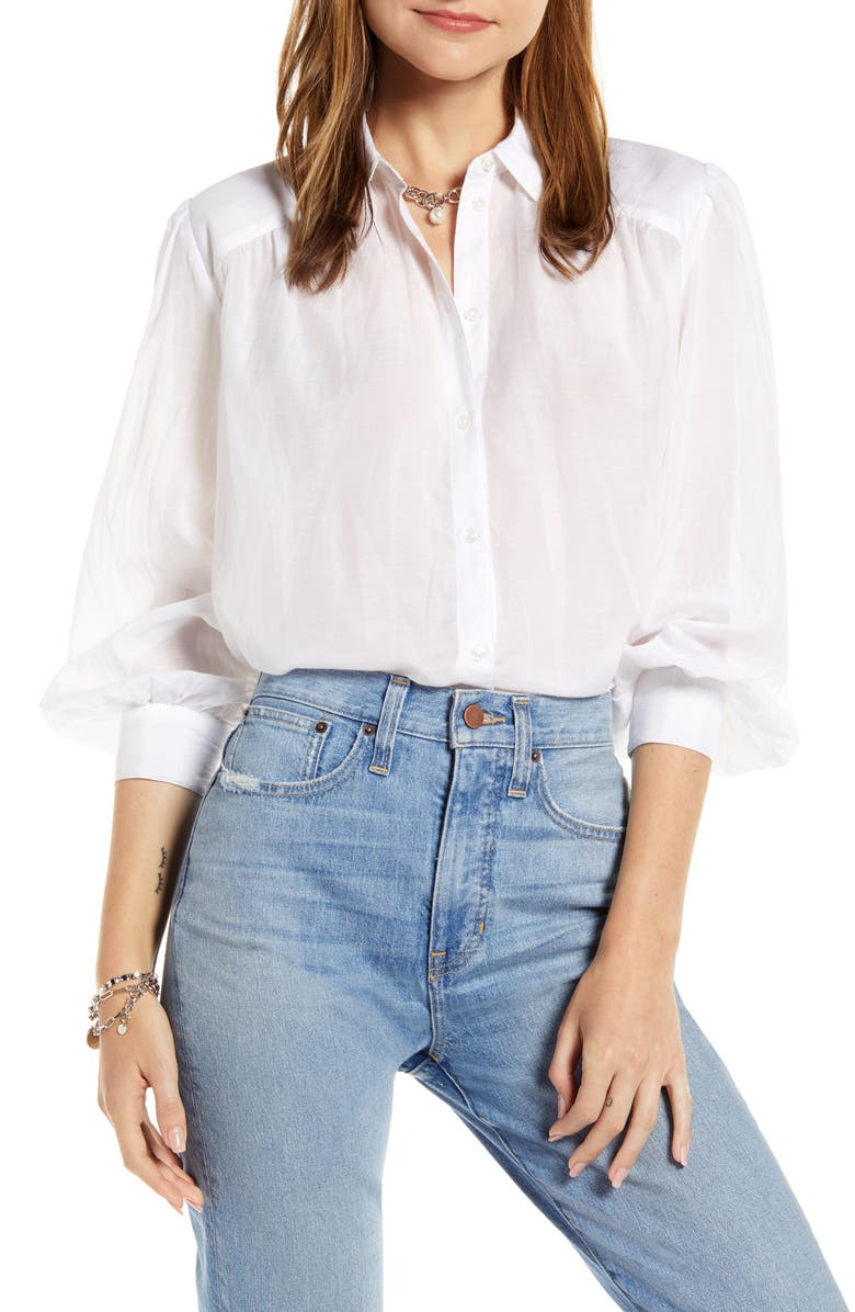 SOMETHING NAVY Sheer Button-Up Shirt, Main, color, 100